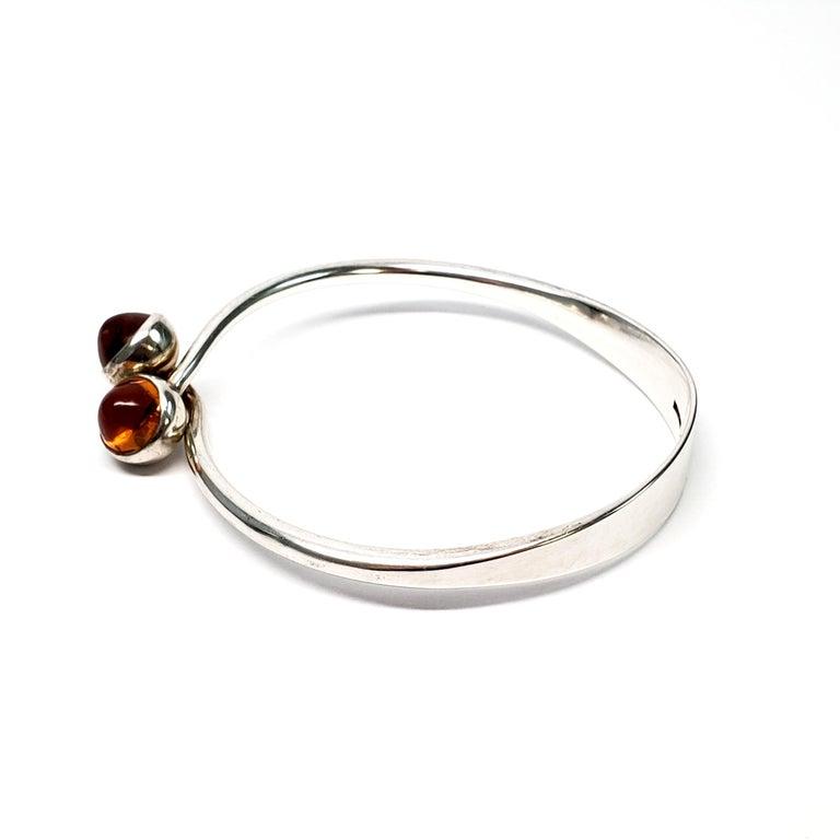 Round Cut Bent Knudsen Denmark Sterling Silver Amber Bangle Bracelet For Sale