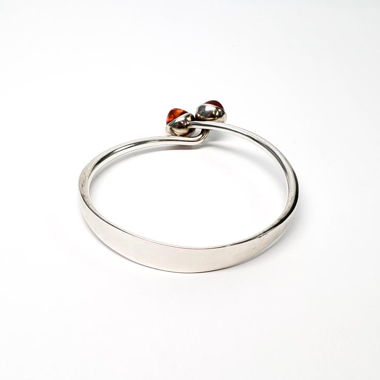 Bent Knudsen Denmark Sterling Silver Amber Bangle Bracelet In Good Condition For Sale In New Milford, CT