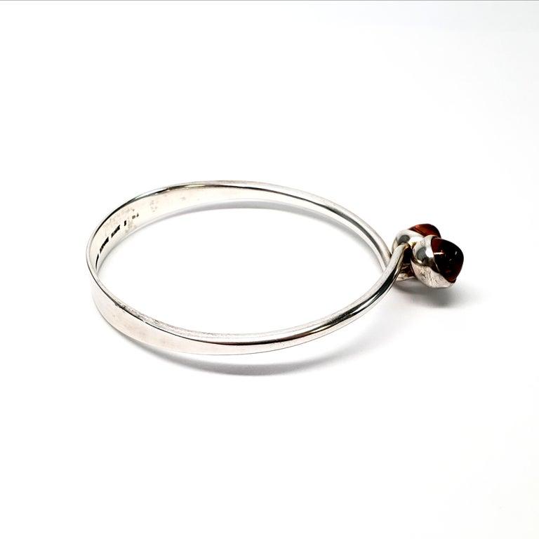Women's Bent Knudsen Denmark Sterling Silver Amber Bangle Bracelet For Sale
