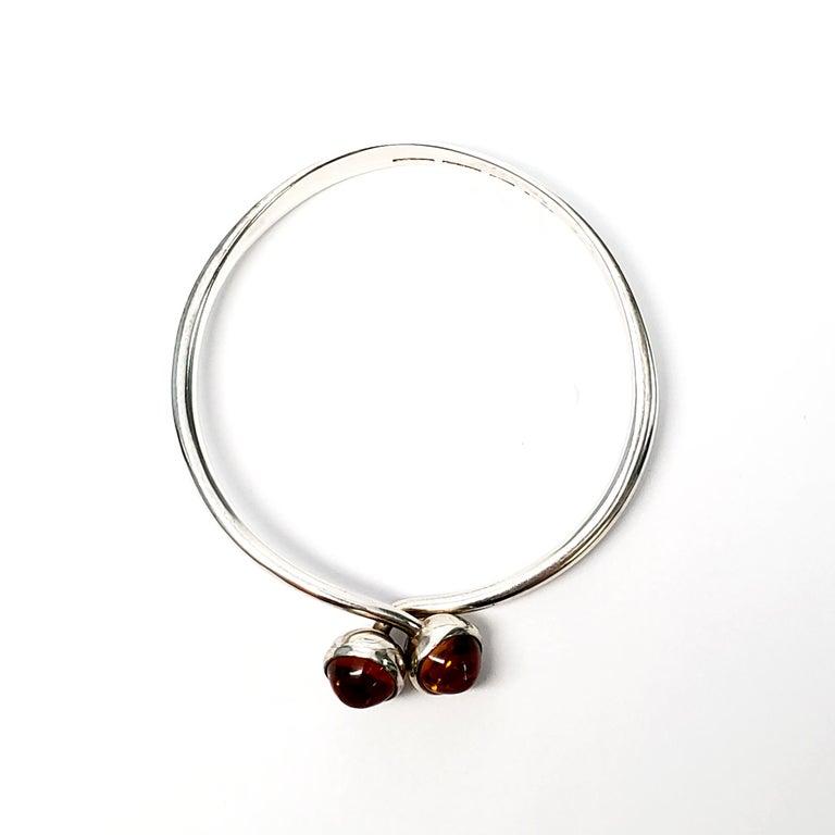Bent Knudsen Denmark Sterling Silver Amber Bangle Bracelet For Sale 1