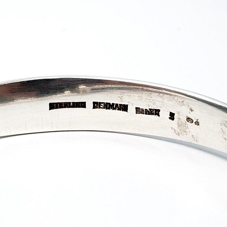 Bent Knudsen Denmark Sterling Silver Amber Bangle Bracelet For Sale 2