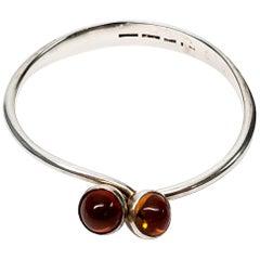 Bent Knudsen Denmark Sterling Silver Amber Bangle Bracelet