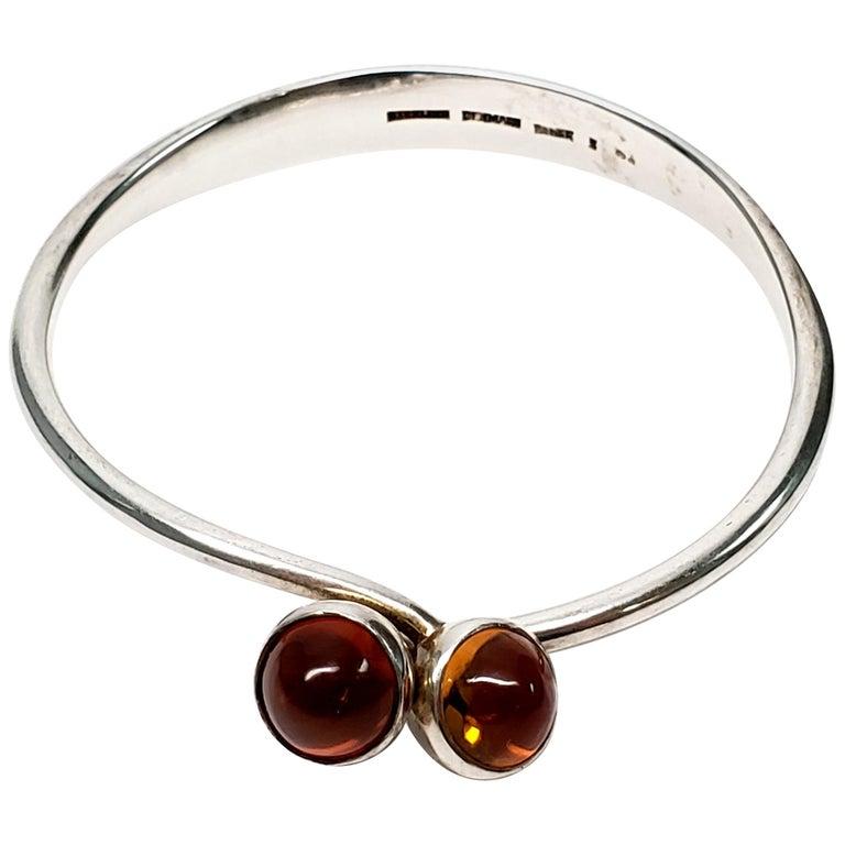 Bent Knudsen Denmark Sterling Silver Amber Bangle Bracelet For Sale