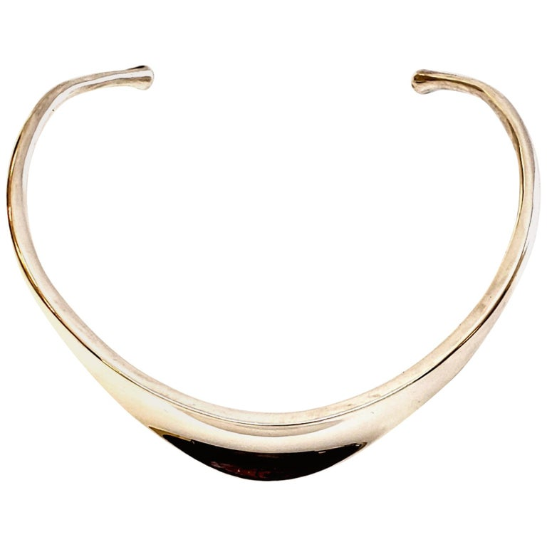 Bent Knudsen Denmark Sterling Silver Neck Ring / Choker Necklace #3 For Sale