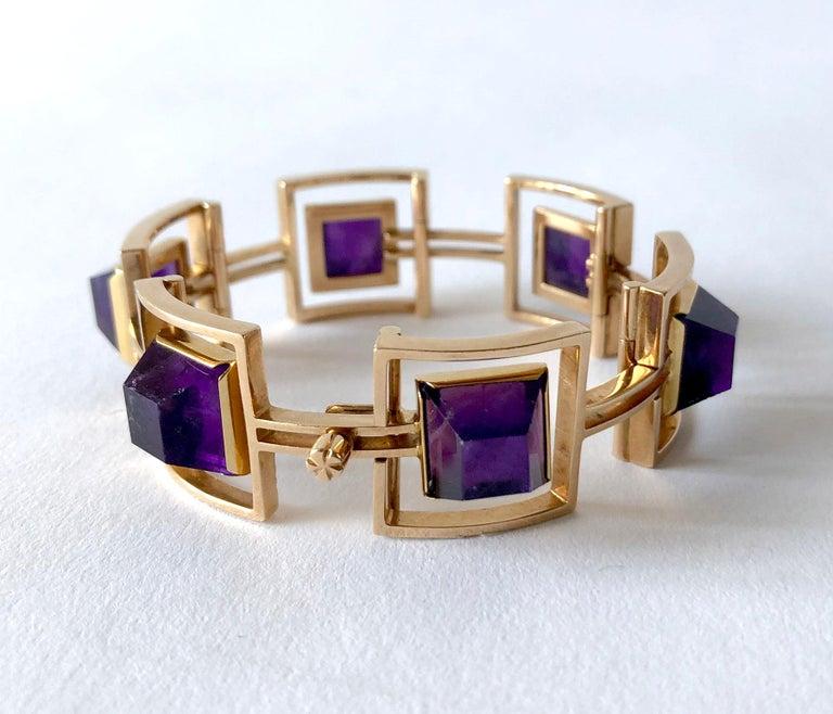 Bent Knudsen Bent K Gold Amethyst Danish Modernist Link Bracelet In Good Condition For Sale In Los Angeles, CA