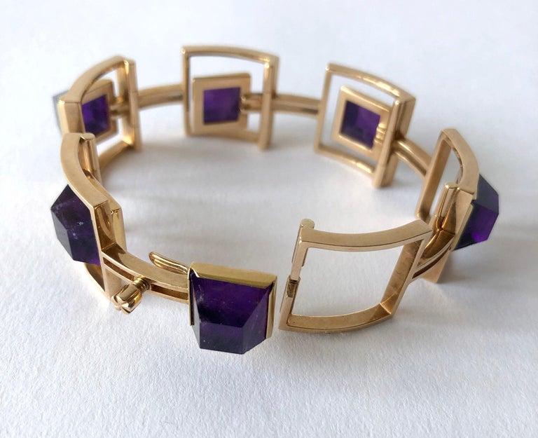 Women's Bent Knudsen Bent K Gold Amethyst Danish Modernist Link Bracelet For Sale