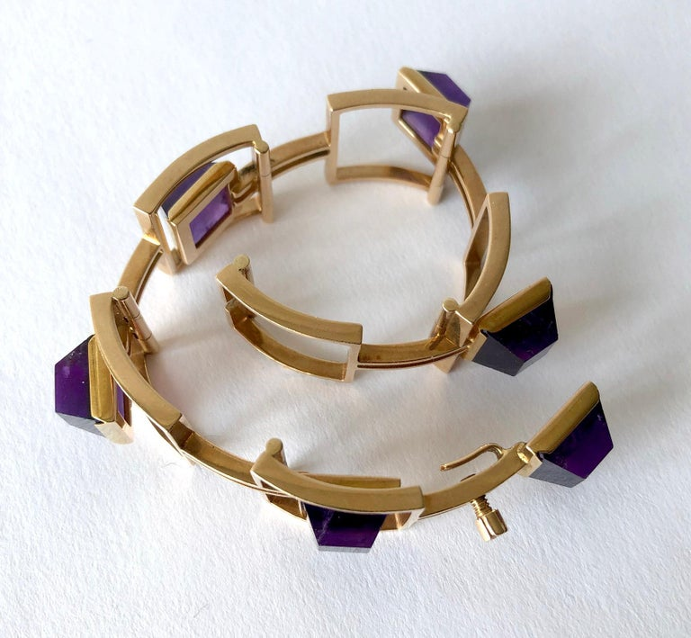 Bent Knudsen Bent K Gold Amethyst Danish Modernist Link Bracelet For Sale 1