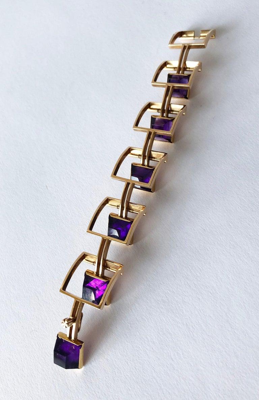 Bent Knudsen Bent K Gold Amethyst Danish Modernist Link Bracelet For Sale 2
