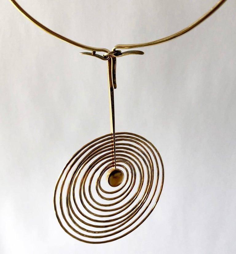 Modernist Bent Gabrielsen Gold Danish Modern Concentric Circle Necklace Earrings Set For Sale