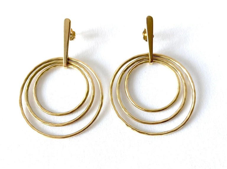 Bent Gabrielsen Gold Danish Modern Concentric Circle Necklace Earrings Set In Good Condition For Sale In Los Angeles, CA