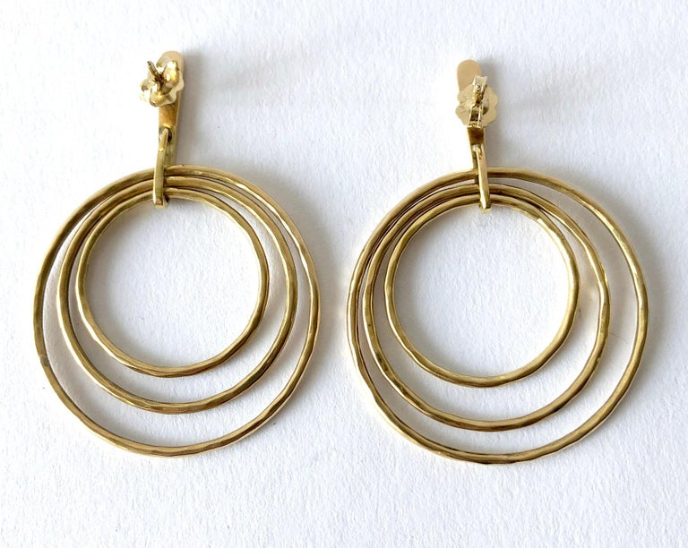 Women's Bent Gabrielsen Gold Danish Modern Concentric Circle Necklace Earrings Set For Sale
