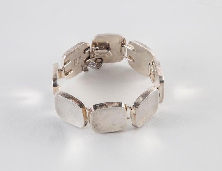 Bent Knudsen Sterling Silver Handmade Modernist Square Bracelet Diameter: 2.5