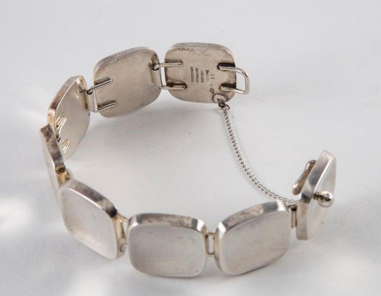 Bent Knudsen Sterling Silver Handmade Modernist Square Bracelet In Good Condition For Sale In Norwalk, CT