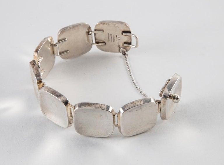 Women's or Men's Bent Knudsen Sterling Silver Handmade Modernist Square Bracelet For Sale