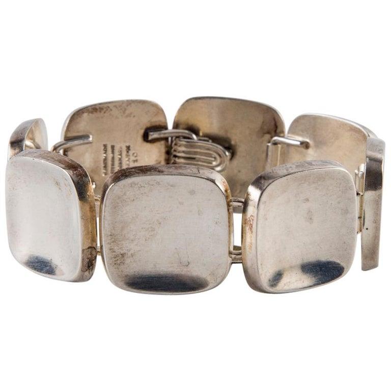 Bent Knudsen Sterling Silver Handmade Modernist Square Bracelet For Sale
