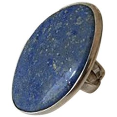Bent Knudsen Sterling Silver Ring with Blue Stone #204