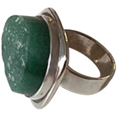 Bent Knudsen Sterling Silver Ring with Green Stone