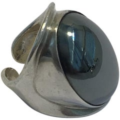 Bent Knudsen Sterling Silver Ring with Hematite No 19