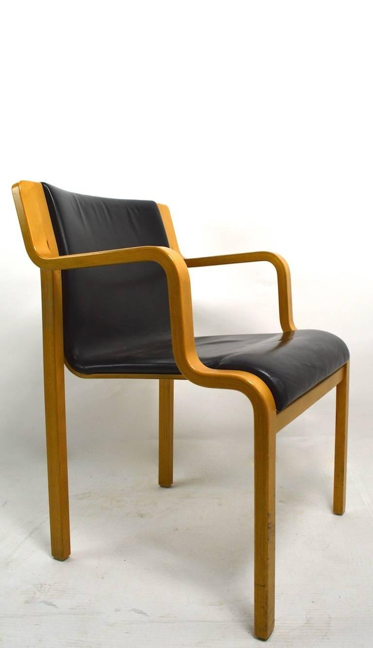Bent Laminated Wood And Leather Chair By Stendig For Sale