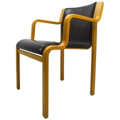 Bent Laminated Wood and Leather Chair by Stendig