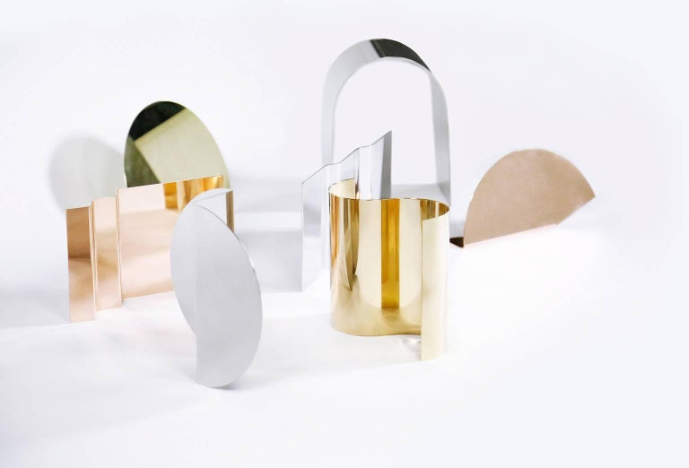 Polished 'Bent Mirrors' Minimalist Objects in Bronze, Brass, Copper, Stainless Steel For Sale