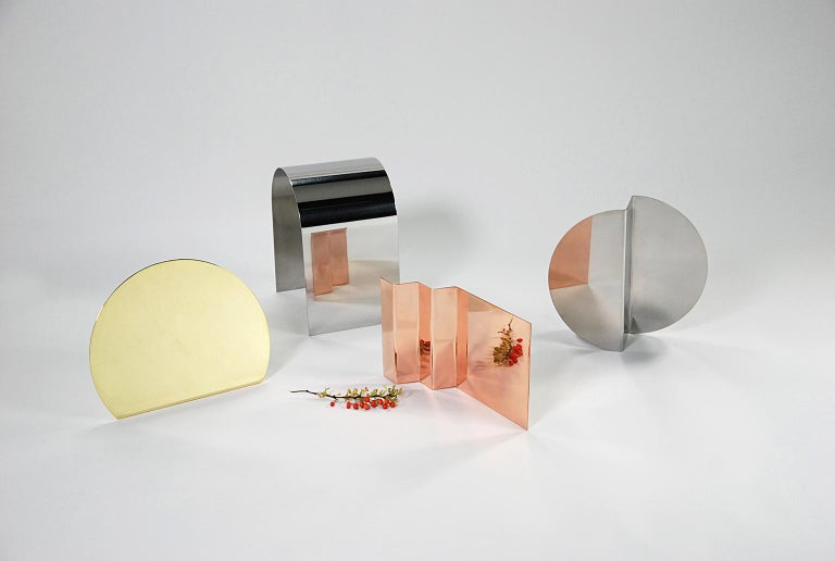 Contemporary 'Bent Mirrors' Minimalist Objects in Bronze, Brass, Copper, Stainless Steel For Sale