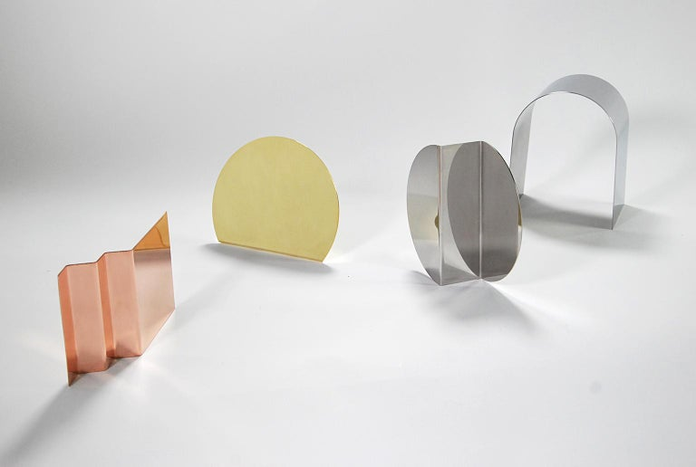 Polished 'Bent Mirrors' Minimalist Objects in Stainless Steel For Sale