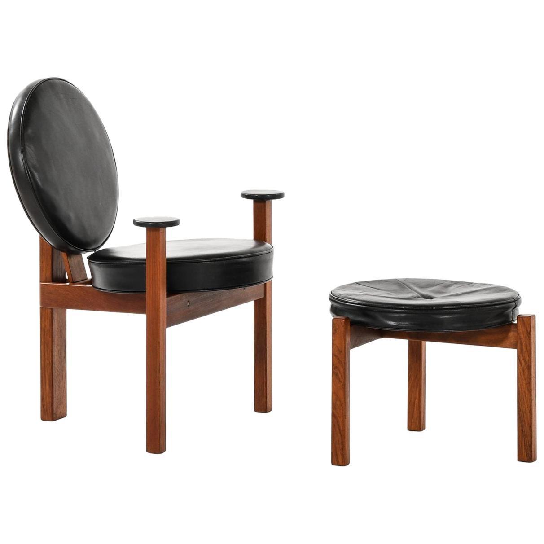 Bent Møller Jepsen Easy Chair with Stool Produced by Sitamo Møbler in Denmark