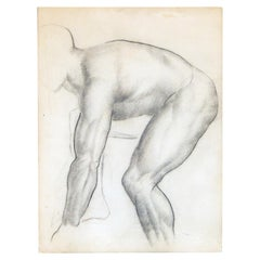 """""""Bent Over,"""" Finely Detailed Drawing of Nude Male Figure by Zimmerman"""