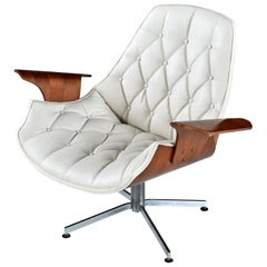 Bent Ply Horn Tip White Leather Lounge Chair in the Style of George Mulhauser