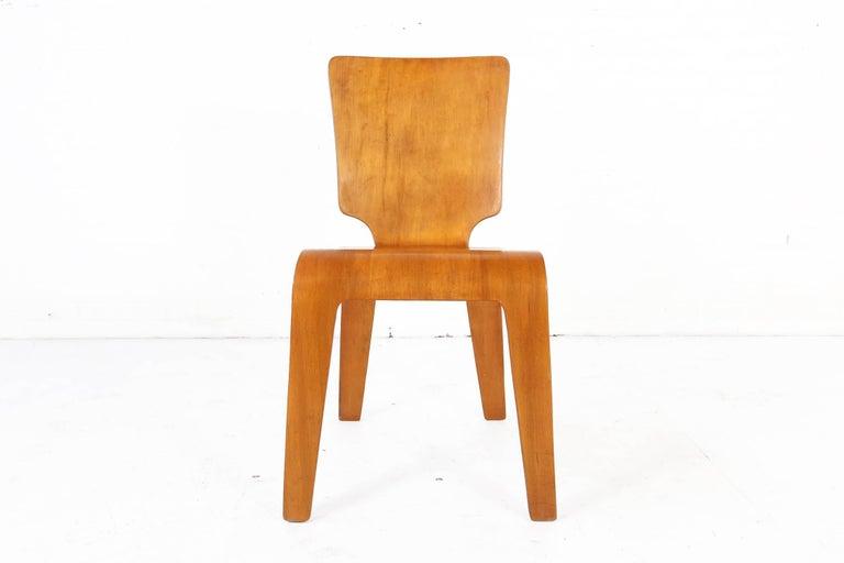 bent plywood side chair by thaden jordan furniture 1940s han