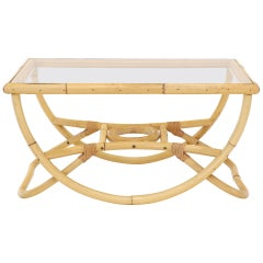 Bent Rattan Glass Top Compact Coffee Table