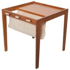 Bent Silberg Mobler Teak Side Table with Canvas Magazine Holder Denmark 1960s