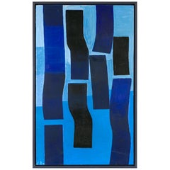 Bent Sorensen Abstract Blue Painting, Denmark 1990s
