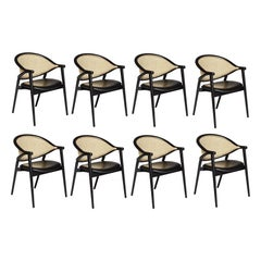 Bent Wood Dining Chair Featuring Woven Cane Backrest
