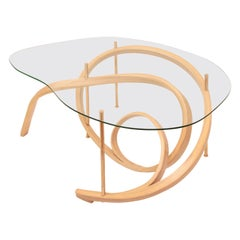 Bent Wood Large Coffee Table with Brass Elements by Raka Studio