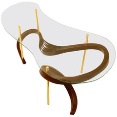 Bent Wood Small Coffee Table with Brass Elements and Safety Glass by Raka Studio