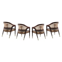 Set of Four, Mid-Century Modern Bentley Chairs in Rosewood and Woven Cane