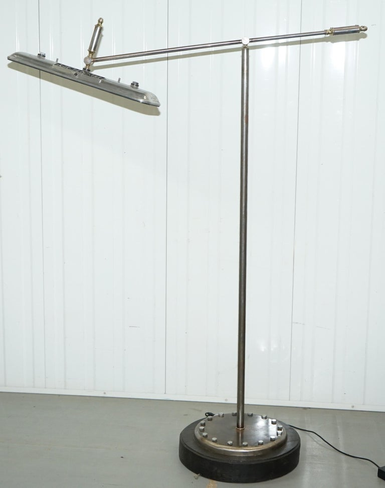 Modern Bentley Floor Standing Articulated Angle Poise Chrome and Polished Metal Lamp For Sale