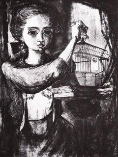 """Bird Cage,"" American Figurative Mid-century Print"