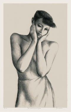 Girl with Hands to Face — Mid-century modern