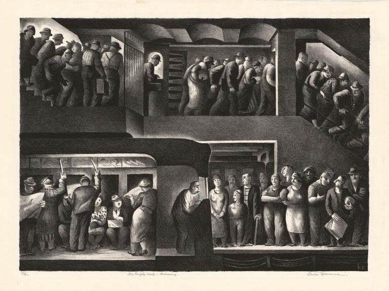 The People Work, Morning - Noon - Evening - Night. [set of four]. - Print by Benton Murdoch Spruance