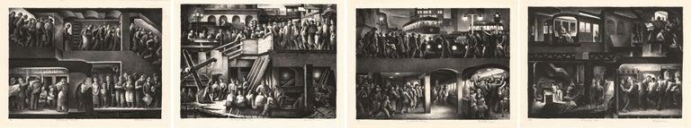 Benton Murdoch Spruance Figurative Print - The People Work, Morning - Noon - Evening - Night. [set of four].
