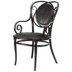Bentwood Armchair with Scroll Design and Black Upholstery