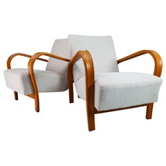 Bentwood Armchairs in Re-Upholstered in Boucle by Karel Koželka & Antonín Kropá