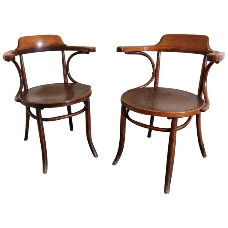 Bentwood Armchairs In The Manner Of Thonet Banker Chair For Sale