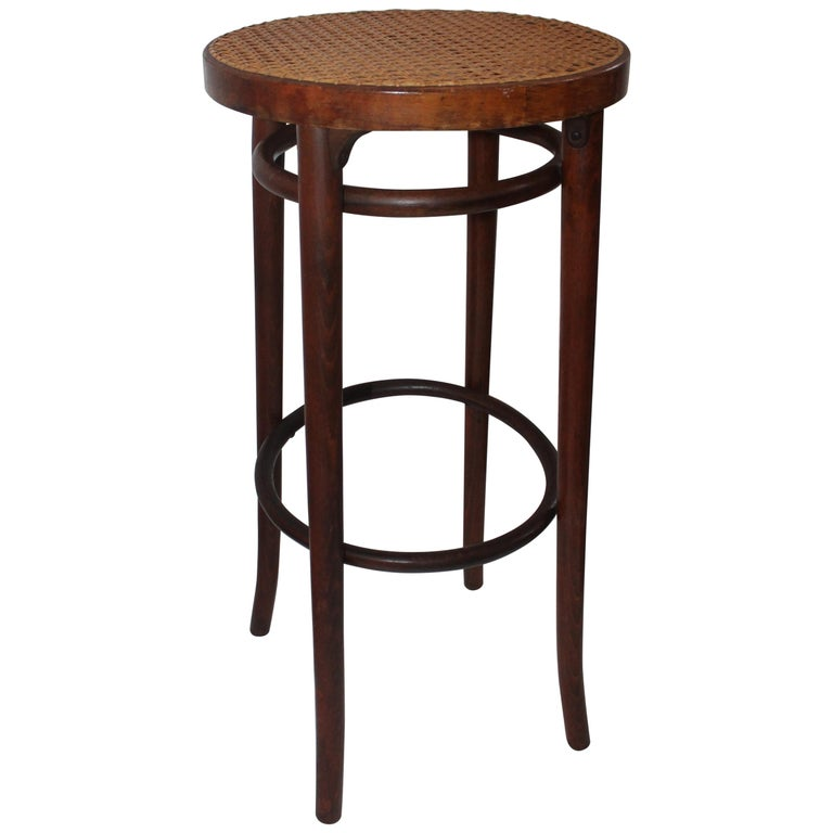 Bentwood Bar Stool With Cane Seat For Sale At 1stdibs