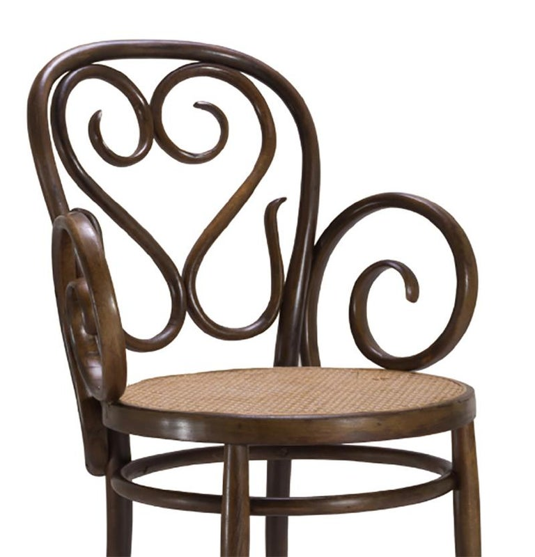 Italian Bentwood Dining Armchairs with Caned Seats by Salvatore Leone, Set of Four For Sale