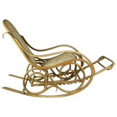 Bentwood Early 1900s Rocking Chair Produced by Mundus, Budapest