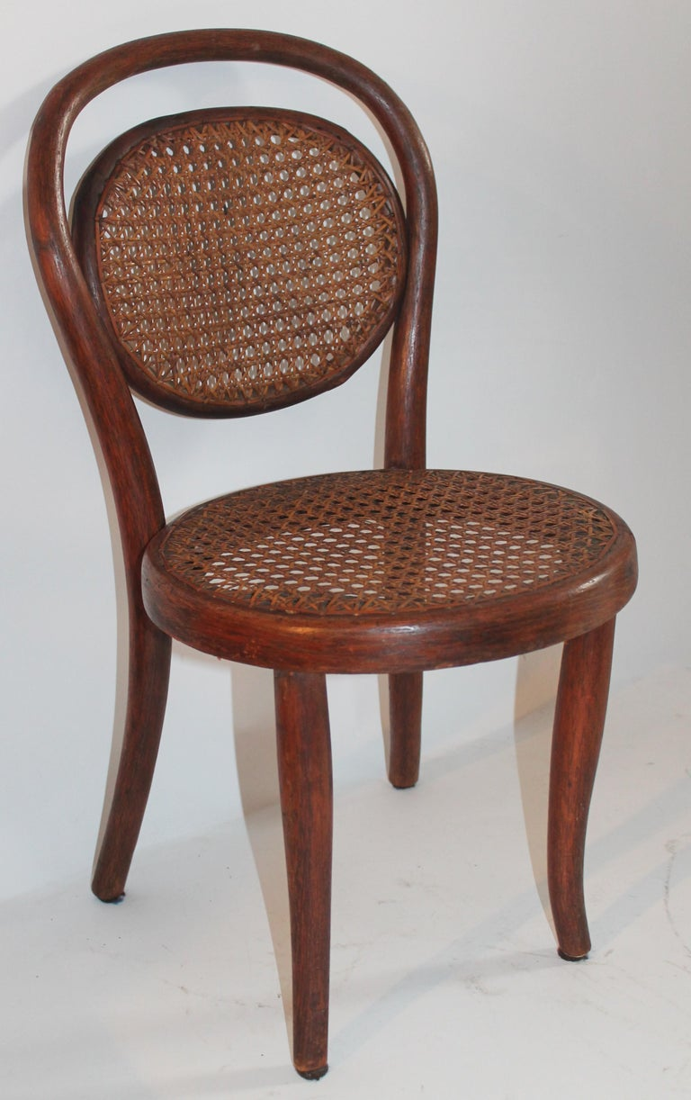 Bentwood Rocker and Chair with Cane Seats, 19th Century For Sale 4